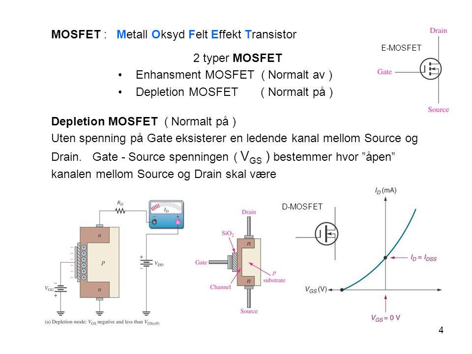 5 E-MOSFET Enhansment MOSFET ( Normalt av ) Gate - Source må ha en tilstrekkelig høy pos.
