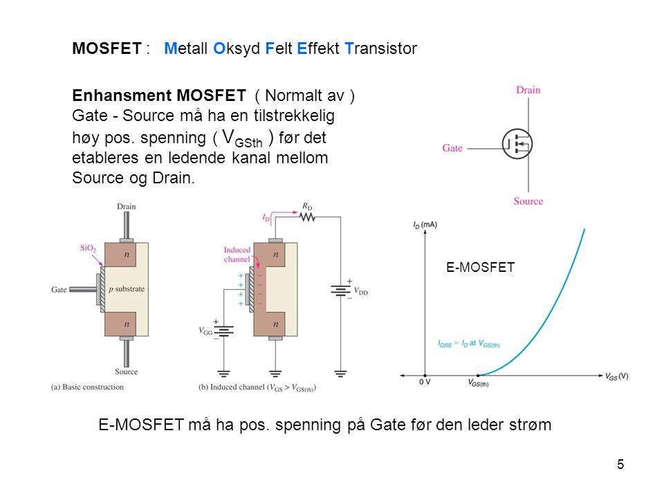 6 Anvendelser MOSFET brukes mest i digital elektronikk - Arbeider med rektangulære kurveformer – firkantpulser – 0 og 1 - Complimentary MOS ( CMOS ) – danner en egen digital kretsfamilie - CMOS gir enklere logiske kretser enn BJT - CMOS trekker vesentlig mindre strøm enn BJT-kretser - trenger nesten ingen input current CMOS inverter Bruker både n-kanal og p-kanal (complimentary) MOS.