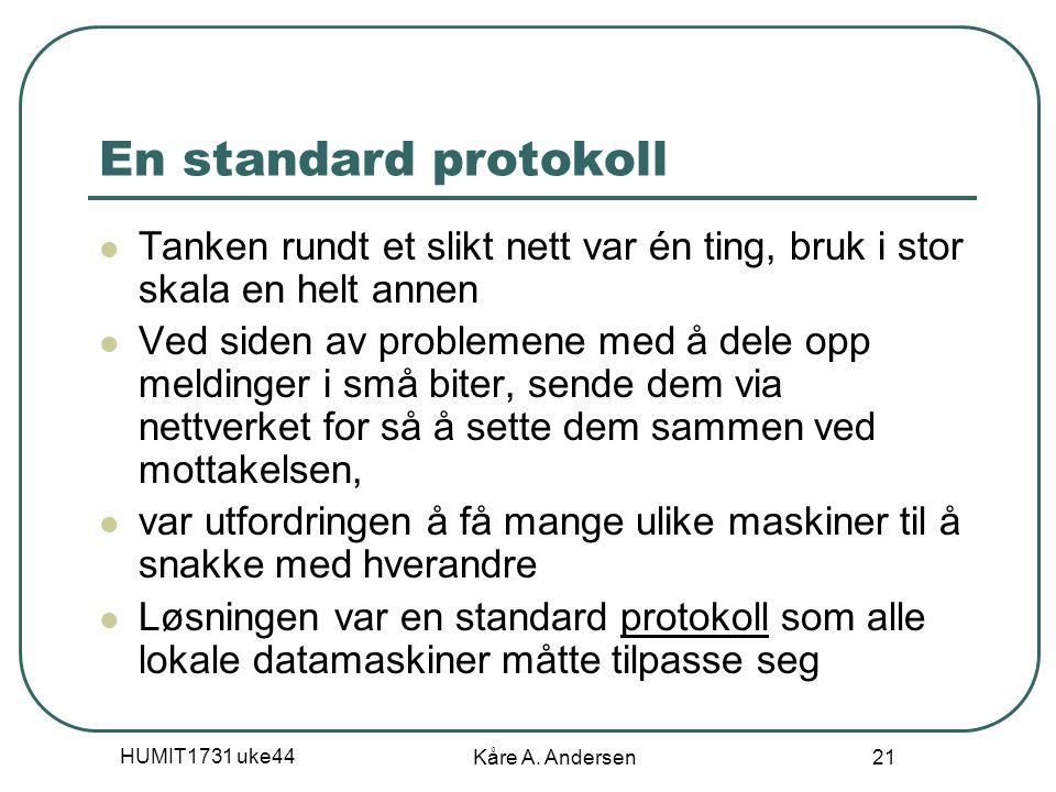 HUMIT1731 uke44 Kåre A. Andersen 21 En standard protokoll Tanken rundt et slikt nett var én ting, bruk i stor skala en helt annen Ved siden av problem