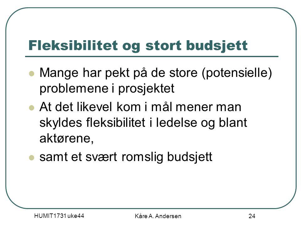 HUMIT1731 uke44 Kåre A. Andersen 24 Fleksibilitet og stort budsjett Mange har pekt på de store (potensielle) problemene i prosjektet At det likevel ko