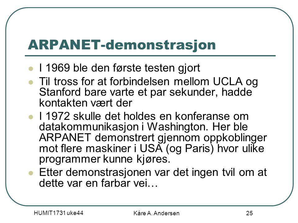 HUMIT1731 uke44 Kåre A. Andersen 25 ARPANET-demonstrasjon I 1969 ble den første testen gjort Til tross for at forbindelsen mellom UCLA og Stanford bar