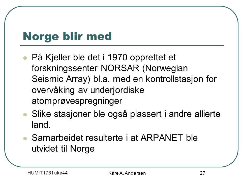 HUMIT1731 uke44 Kåre A. Andersen 27 Norge blir med På Kjeller ble det i 1970 opprettet et forskningssenter NORSAR (Norwegian Seismic Array) bl.a. med