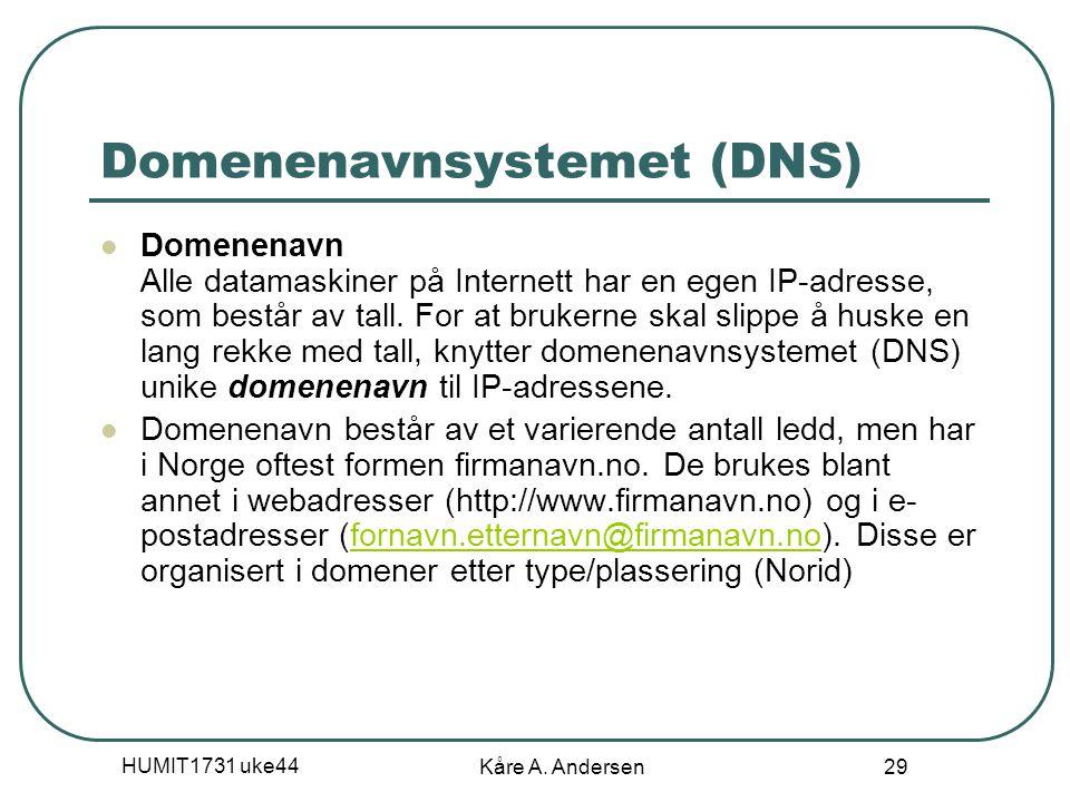 HUMIT1731 uke44 Kåre A. Andersen 29 Domenenavnsystemet (DNS) Domenenavn Alle datamaskiner på Internett har en egen IP-adresse, som består av tall. For