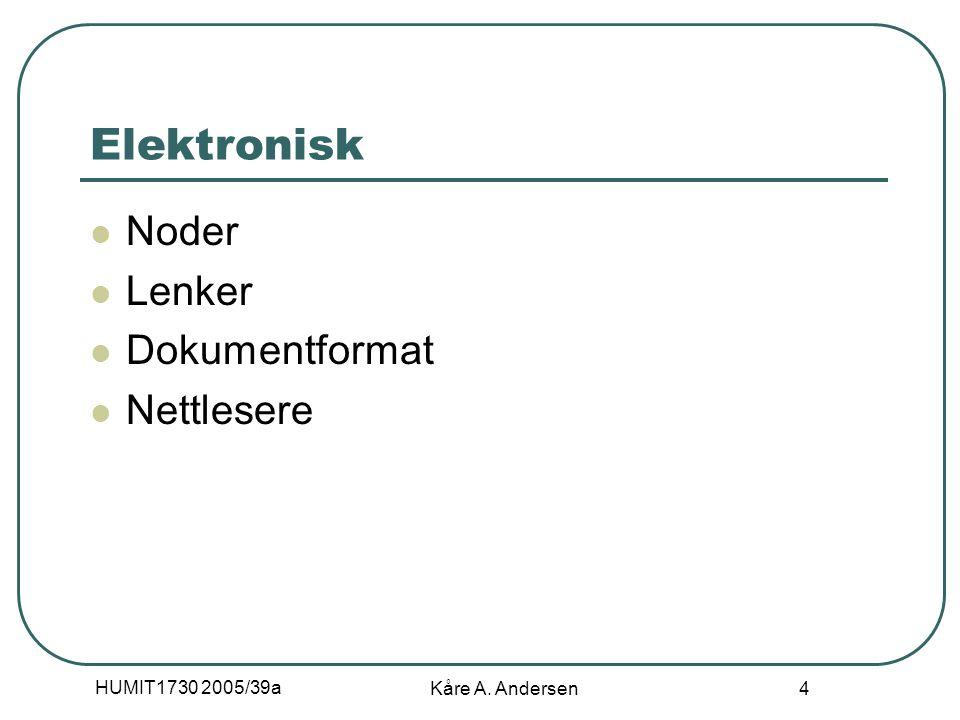 HUMIT1730 2005/39a Kåre A. Andersen 4 Elektronisk Noder Lenker Dokumentformat Nettlesere