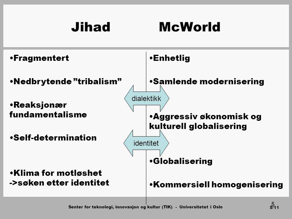 Senter for teknologi, innovasjon og kultur (TIK) - Universitetet i Oslo 6/11 6 Hovedargumenter Jihad og McWorld som utfordrere til demokratiet Jihad og McWorld gjensidig avhengige Ikke en kamp mellom islam og vesten En konflikt mellom verdier