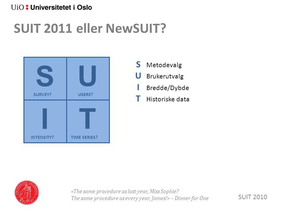 SUIT 2011 eller NewSUIT. SUIT 2010 S U T I SURVEY.