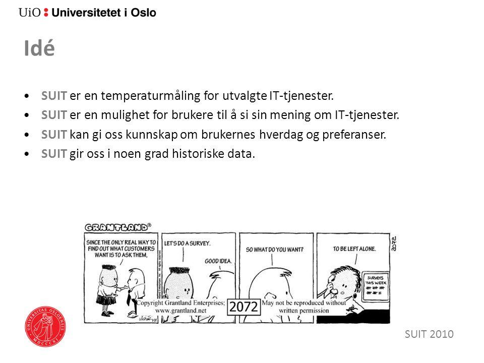 Idé SUIT er en temperaturmåling for utvalgte IT-tjenester. SUIT er en mulighet for brukere til å si sin mening om IT-tjenester. SUIT kan gi oss kunnsk
