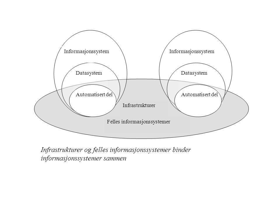 Infrastrukturer Datasystem Automatisert del Datasystem Automatisert del Infrastrukturer og felles informasjonssystemer binder informasjonssystemer sammen Informasjonssystem Felles informasjonssystemer Informasjonssystem