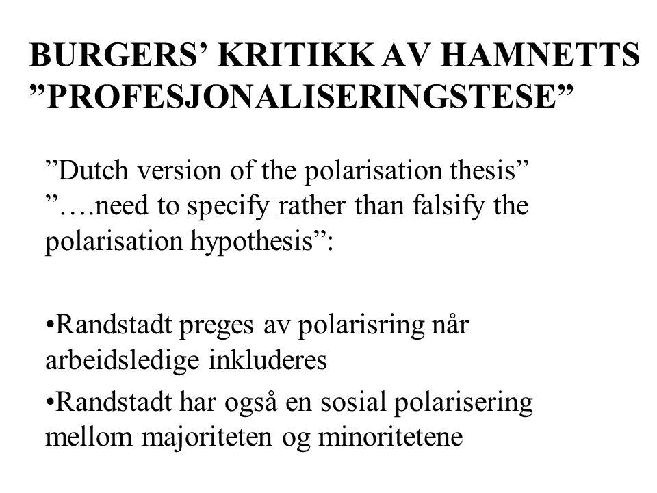 BURGERS' KRITIKK AV HAMNETTS PROFESJONALISERINGSTESE Dutch version of the polarisation thesis ….need to specify rather than falsify the polarisation hypothesis : Randstadt preges av polarisring når arbeidsledige inkluderes Randstadt har også en sosial polarisering mellom majoriteten og minoritetene
