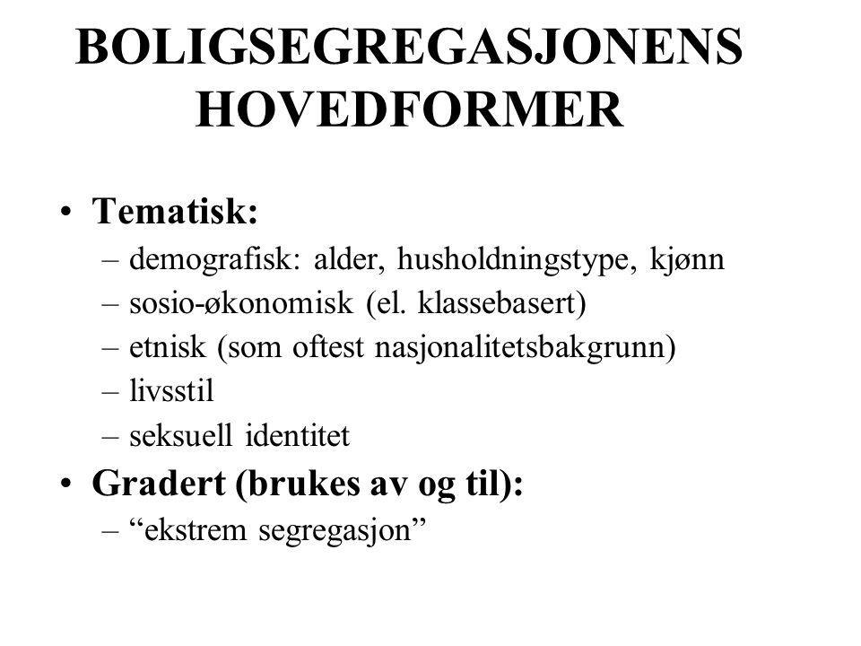 BOLIGSEGREGASJONENS HOVEDFORMER Tematisk: –demografisk: alder, husholdningstype, kjønn –sosio-økonomisk (el.