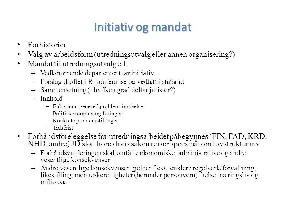 Initiativ og mandat Forhistorier Valg av arbeidsform (utredningsutvalg eller annen organisering?) Mandat til utredningsutvalg e.l.