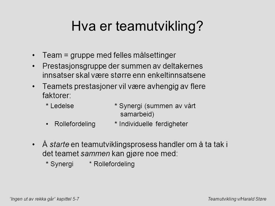 """""""Ingen ut av rekka går"""" kapittel 5-7Teamutvikling v/Harald Støre Hva er teamutvikling? Team = gruppe med felles målsettinger Prestasjonsgruppe der sum"""