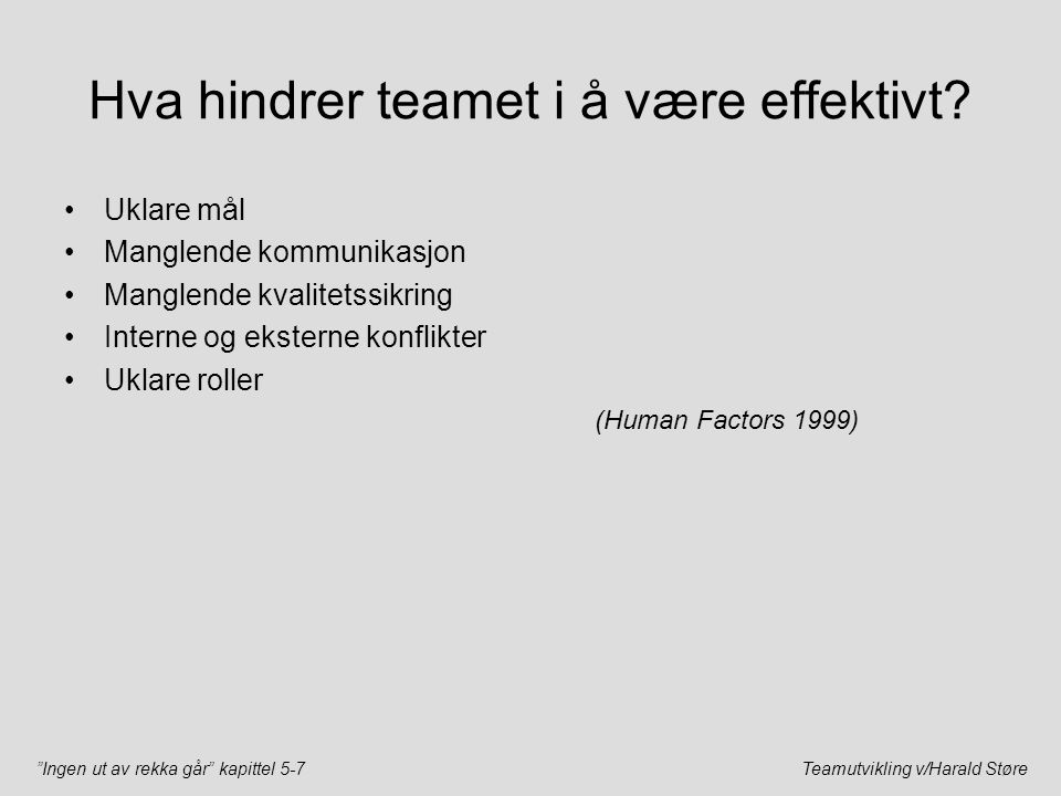 """""""Ingen ut av rekka går"""" kapittel 5-7Teamutvikling v/Harald Støre Hva hindrer teamet i å være effektivt? Uklare mål Manglende kommunikasjon Manglende k"""