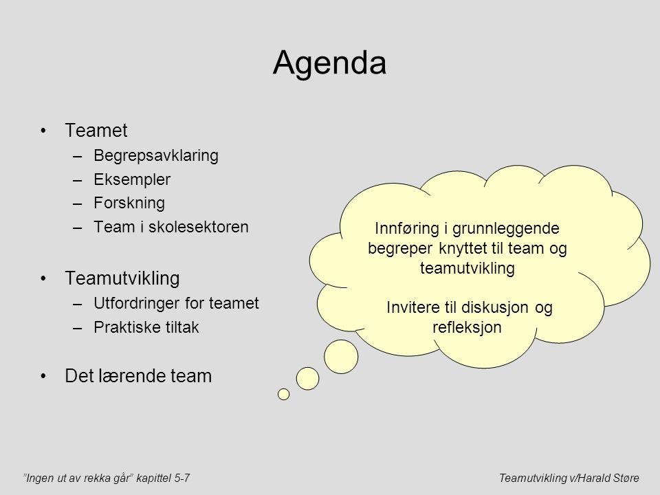 """""""Ingen ut av rekka går"""" kapittel 5-7Teamutvikling v/Harald Støre Agenda Teamet –Begrepsavklaring –Eksempler –Forskning –Team i skolesektoren Teamutvik"""