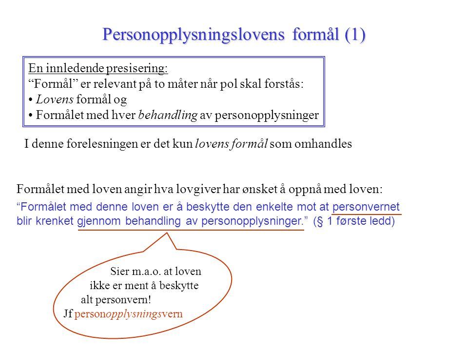 "Personopplysningslovens formål (1) En innledende presisering: ""Formål"" er relevant på to måter når pol skal forstås: Lovens formål og Formålet med hve"