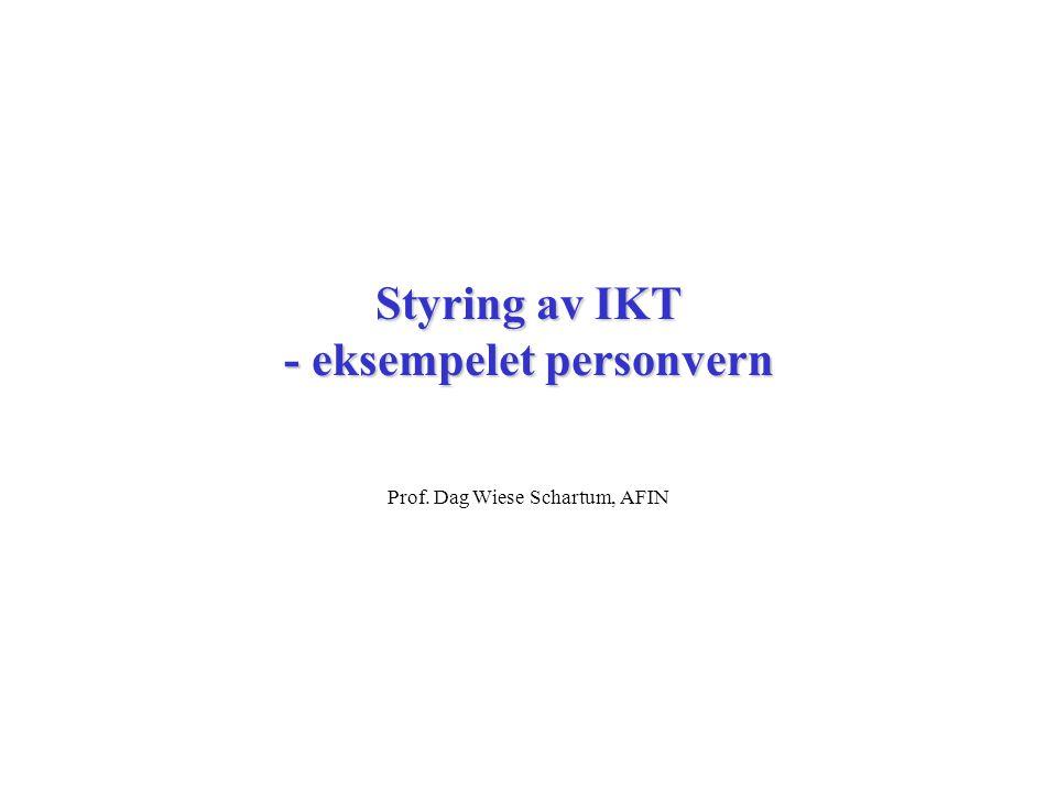 Styring av IKT - eksempelet personvern Prof. Dag Wiese Schartum, AFIN