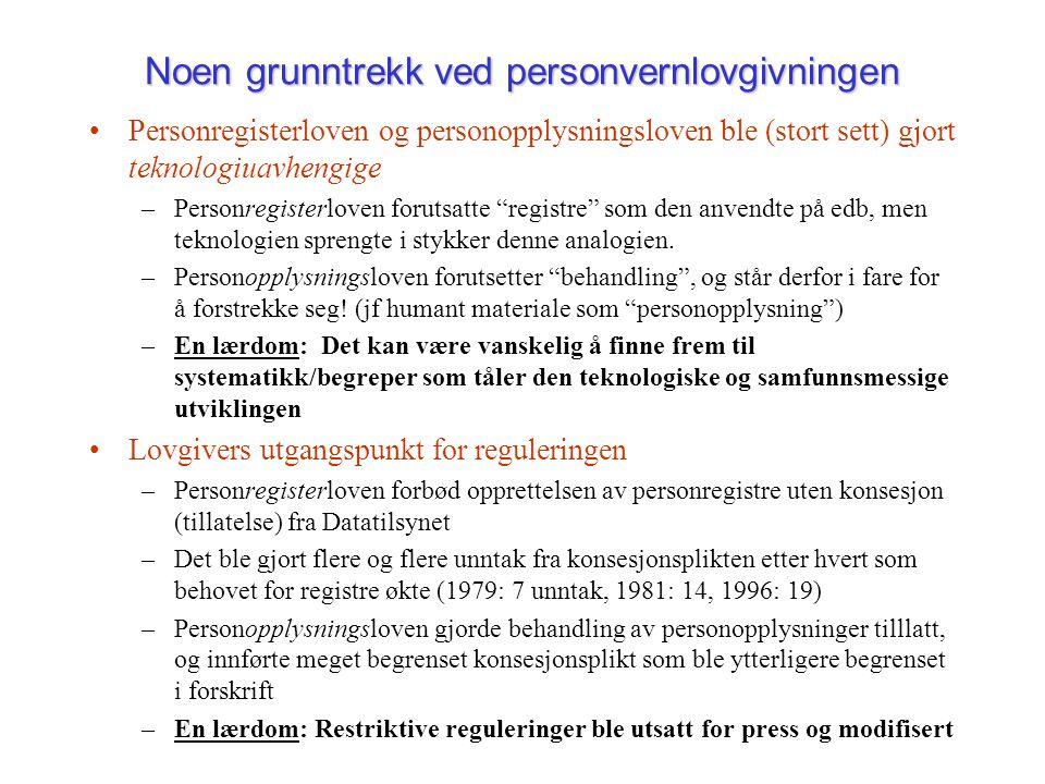 Noen grunntrekk ved personvernlovgivningen Personregisterloven og personopplysningsloven ble (stort sett) gjort teknologiuavhengige –Personregisterlov