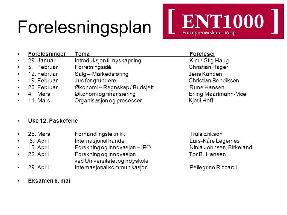 ForelesningerTemaForeleser 29.Januar Introduksjon til nyskapning Kim / Stig Haug 5.