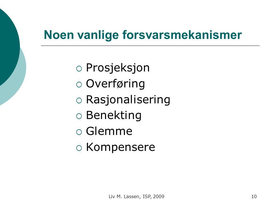 Liv M. Lassen, ISP, 200910 Noen vanlige forsvarsmekanismer  Prosjeksjon  Overføring  Rasjonalisering  Benekting  Glemme  Kompensere