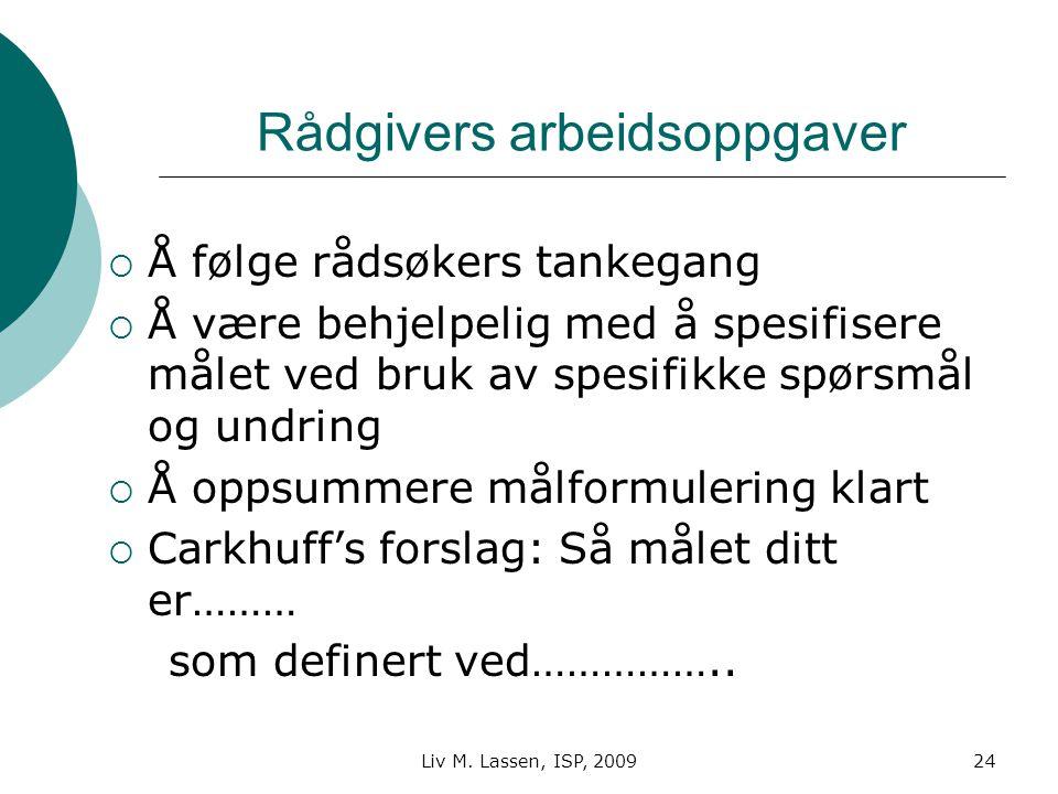Liv M. Lassen, ISP, 200924 Rådgivers arbeidsoppgaver  Å følge rådsøkers tankegang  Å være behjelpelig med å spesifisere målet ved bruk av spesifikke