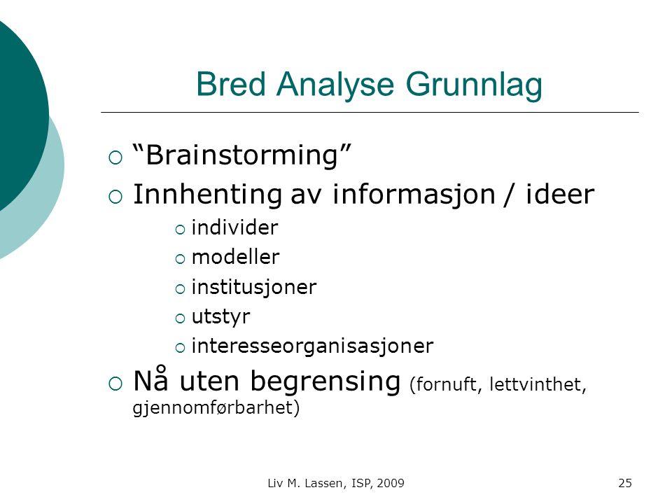 """Liv M. Lassen, ISP, 200925 Bred Analyse Grunnlag  """"Brainstorming""""  Innhenting av informasjon / ideer  individer  modeller  institusjoner  utstyr"""
