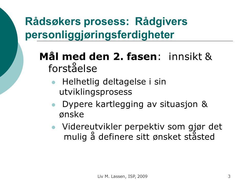 Liv M. Lassen, ISP, 20093 Rådsøkers prosess: Rådgivers personliggjøringsferdigheter Mål med den 2. fasen: innsikt & forståelse Helhetlig deltagelse i