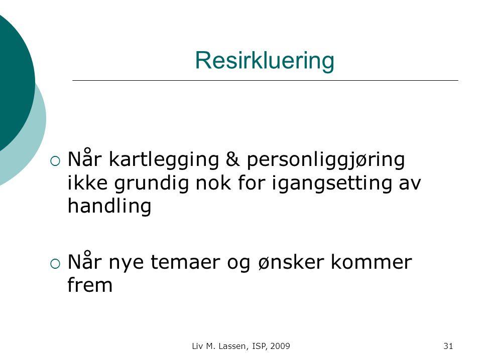 Liv M. Lassen, ISP, 200931 Resirkluering  Når kartlegging & personliggjøring ikke grundig nok for igangsetting av handling  Når nye temaer og ønsker