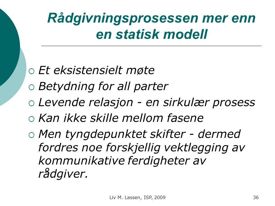 Liv M. Lassen, ISP, 200936 Rådgivningsprosessen mer enn en statisk modell  Et eksistensielt møte  Betydning for all parter  Levende relasjon - en s