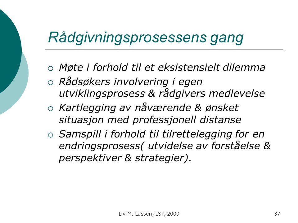 Liv M. Lassen, ISP, 200937 Rådgivningsprosessens gang  Møte i forhold til et eksistensielt dilemma  Rådsøkers involvering i egen utviklingsprosess &