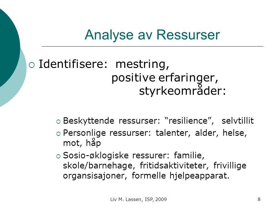 """Liv M. Lassen, ISP, 20098 Analyse av Ressurser  Identifisere: mestring, positive erfaringer, styrkeområder:  Beskyttende ressurser: """"resilience"""", se"""
