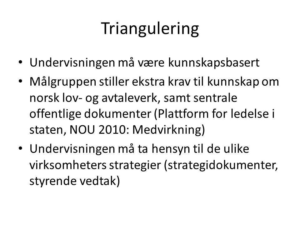 Triangulering Undervisningen må være kunnskapsbasert Målgruppen stiller ekstra krav til kunnskap om norsk lov- og avtaleverk, samt sentrale offentlige
