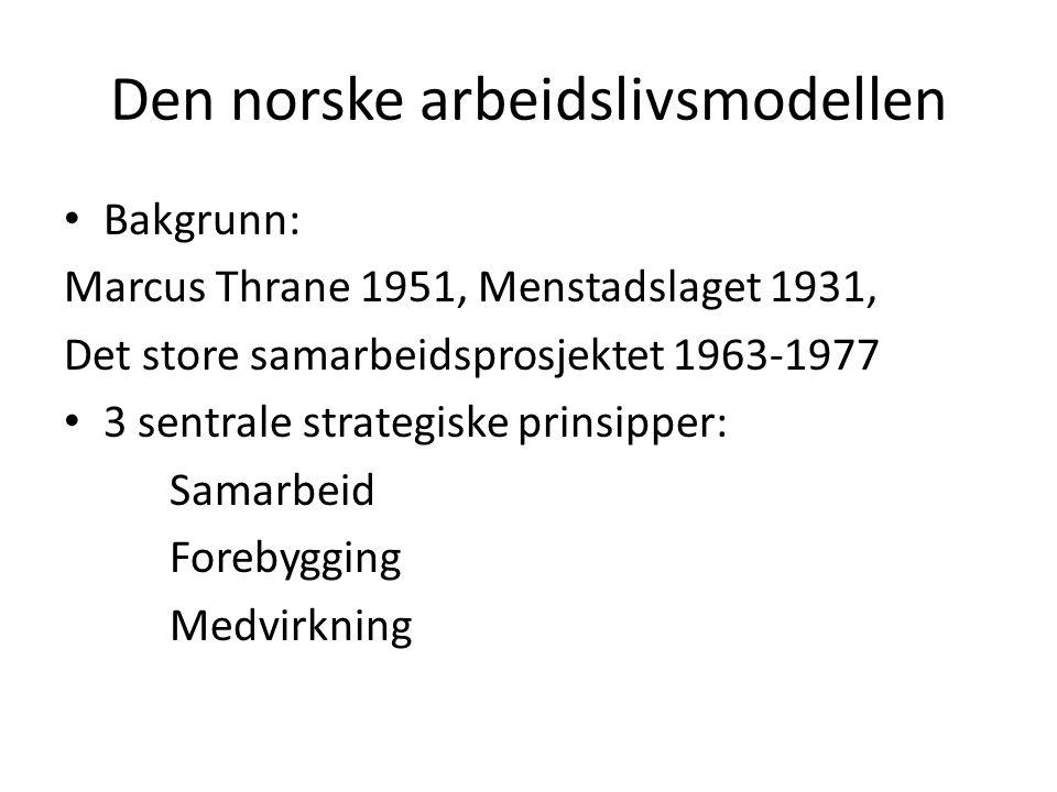 Den norske arbeidslivsmodellen Bakgrunn: Marcus Thrane 1951, Menstadslaget 1931, Det store samarbeidsprosjektet 1963-1977 3 sentrale strategiske prins