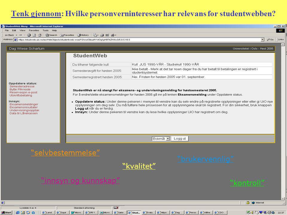 Tenk gjennom: Hvilke personverninteresser har relevans for studentwebben.