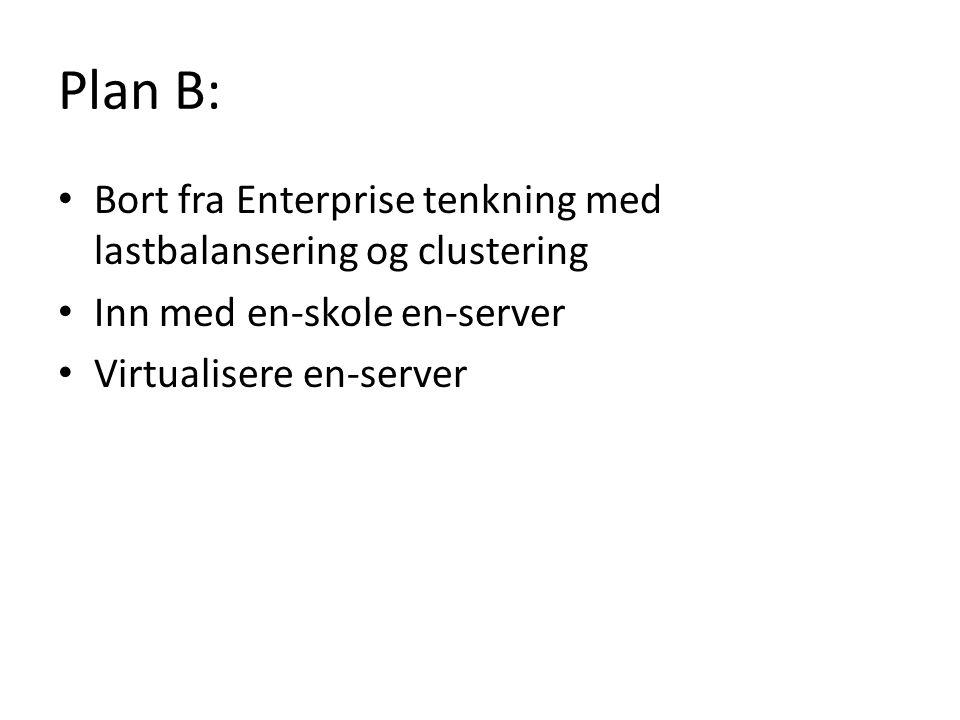 Plan B: Bort fra Enterprise tenkning med lastbalansering og clustering Inn med en-skole en-server Virtualisere en-server