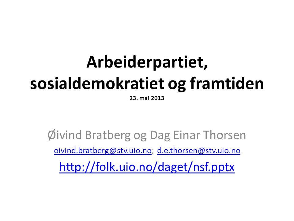 Arbeiderpartiet, sosialdemokratiet og framtiden 23. mai 2013 Øivind Bratberg og Dag Einar Thorsen oivind.bratberg@stv.uio.nooivind.bratberg@stv.uio.no