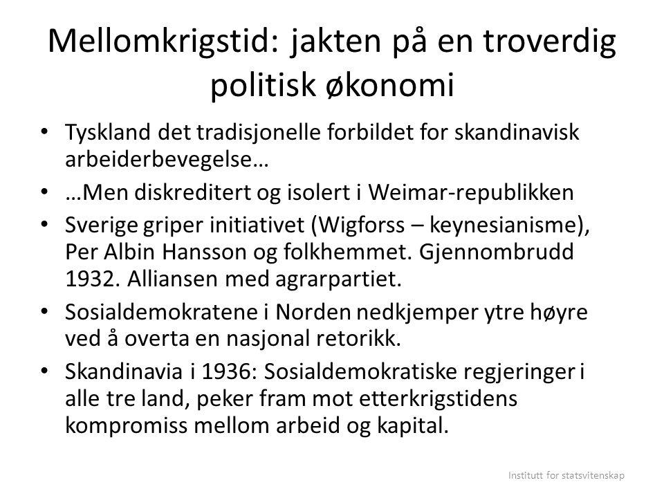 Mellomkrigstid: jakten på en troverdig politisk økonomi Tyskland det tradisjonelle forbildet for skandinavisk arbeiderbevegelse… …Men diskreditert og
