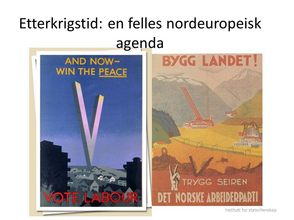 1945-75: Les trente glorieuses Ideologisk konvergens i 1945 Nye samfunnsoppgaver – og nye krav Offentlig eierskap, planpolitikk / regulering, velferdsstat I hvor stor grad en sosialdemokratisk konsensus.