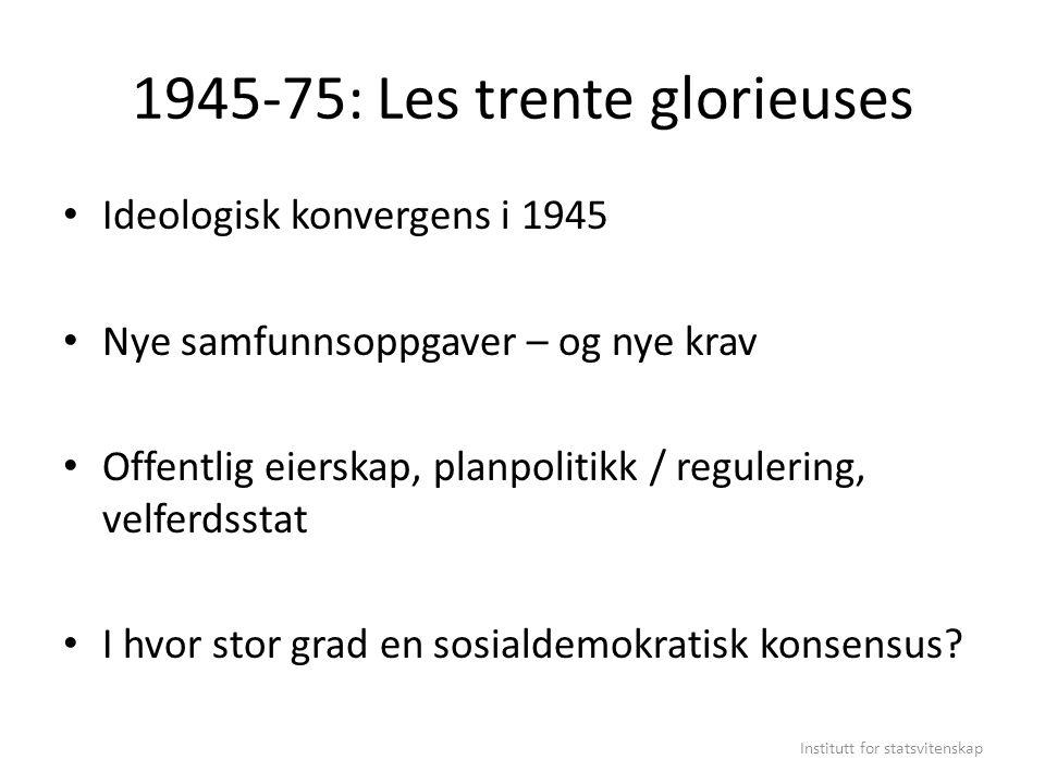 1945-75: Les trente glorieuses Ideologisk konvergens i 1945 Nye samfunnsoppgaver – og nye krav Offentlig eierskap, planpolitikk / regulering, velferds