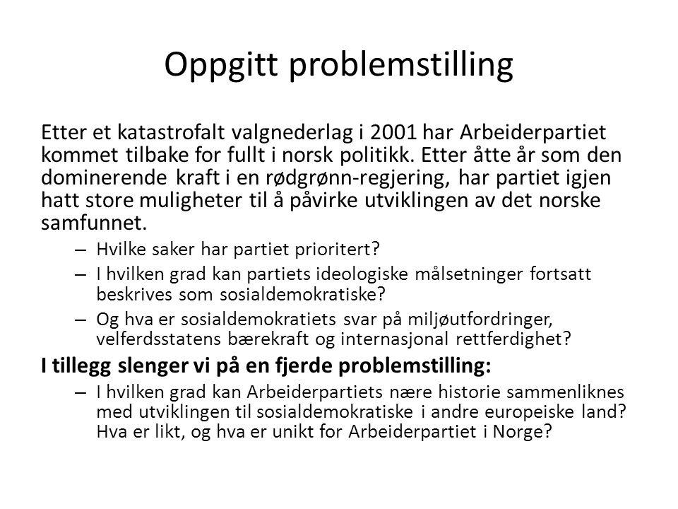 Oppgitt problemstilling Etter et katastrofalt valgnederlag i 2001 har Arbeiderpartiet kommet tilbake for fullt i norsk politikk. Etter åtte år som den
