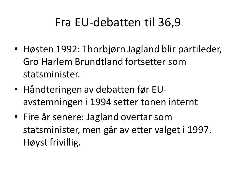 Fra EU-debatten til 36,9 Høsten 1992: Thorbjørn Jagland blir partileder, Gro Harlem Brundtland fortsetter som statsminister. Håndteringen av debatten