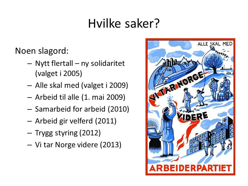 Hvilke saker? Noen slagord: – Nytt flertall – ny solidaritet (valget i 2005) – Alle skal med (valget i 2009) – Arbeid til alle (1. mai 2009) – Samarbe