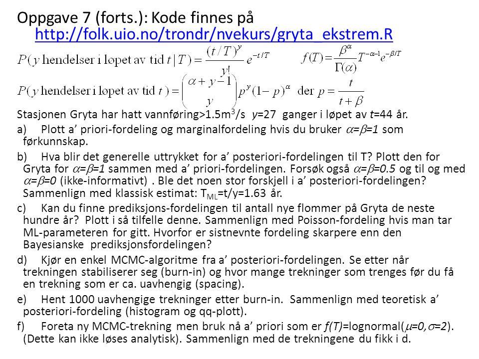 Oppgave 7 (forts.): Kode finnes på http://folk.uio.no/trondr/nvekurs/gryta_ekstrem.R http://folk.uio.no/trondr/nvekurs/gryta_ekstrem.R Stasjonen Gryta