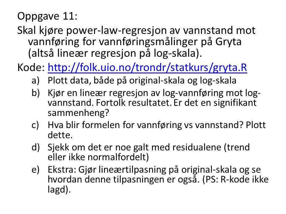 Oppgave 11: Skal kjøre power-law-regresjon av vannstand mot vannføring for vannføringsmålinger på Gryta (altså lineær regresjon på log-skala). Kode: h