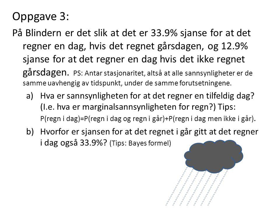 Oppgave 3: På Blindern er det slik at det er 33.9% sjanse for at det regner en dag, hvis det regnet gårsdagen, og 12.9% sjanse for at det regner en dag hvis det ikke regnet gårsdagen.