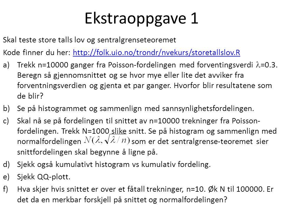 Ekstraoppgave 1 Skal teste store talls lov og sentralgrenseteoremet Kode finner du her: http://folk.uio.no/trondr/nvekurs/storetallslov.Rhttp://folk.uio.no/trondr/nvekurs/storetallslov.R a)Trekk n=10000 ganger fra Poisson-fordelingen med forventingsverdi =0.3.