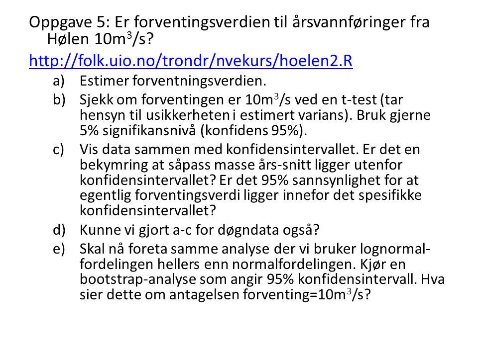Oppgave 5: Er forventingsverdien til årsvannføringer fra Hølen 10m 3 /s? http://folk.uio.no/trondr/nvekurs/hoelen2.R a)Estimer forventningsverdien. b)