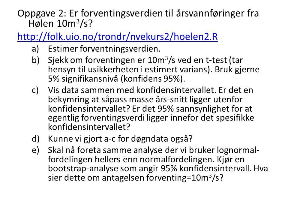 Oppgave 2: Er forventingsverdien til årsvannføringer fra Hølen 10m 3 /s? http://folk.uio.no/trondr/nvekurs2/hoelen2.R a)Estimer forventningsverdien. b