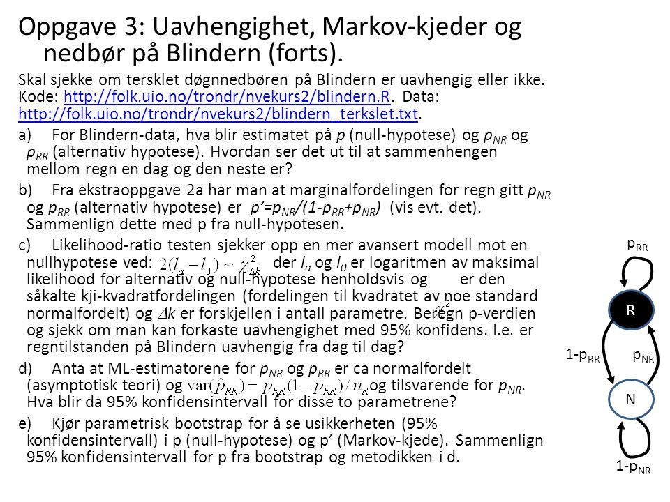 Oppgave 3: Uavhengighet, Markov-kjeder og nedbør på Blindern (forts). Skal sjekke om tersklet døgnnedbøren på Blindern er uavhengig eller ikke. Kode:
