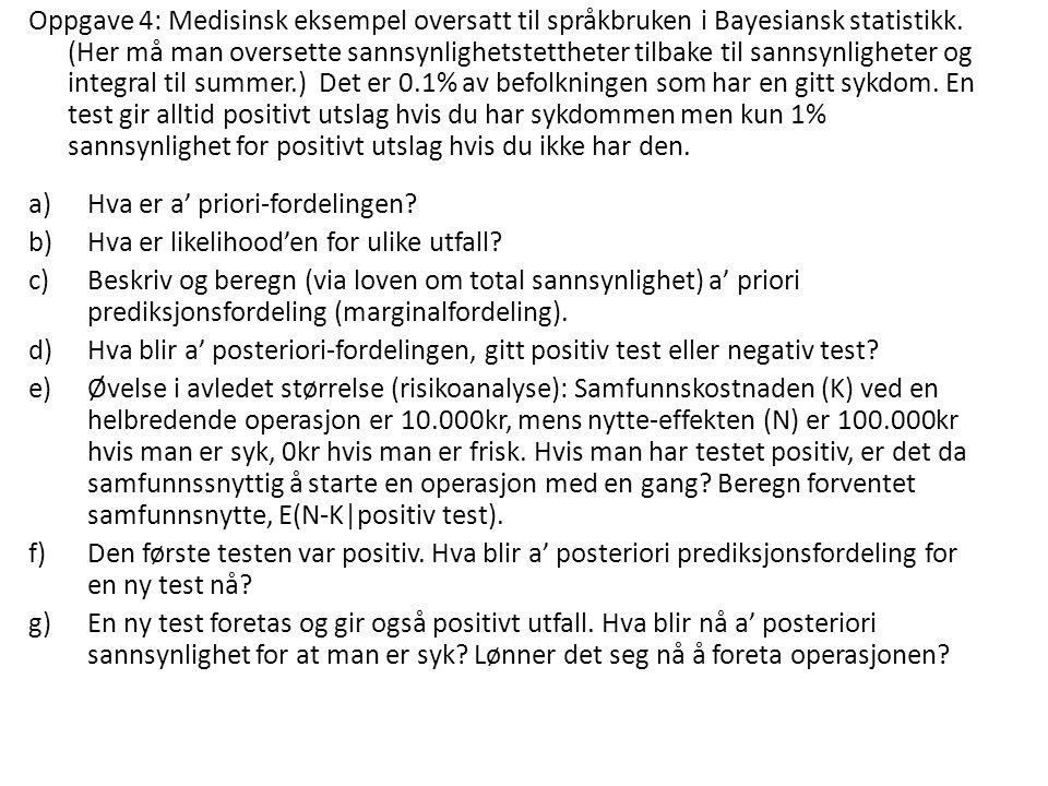 Oppgave 4: Medisinsk eksempel oversatt til språkbruken i Bayesiansk statistikk. (Her må man oversette sannsynlighetstettheter tilbake til sannsynlighe