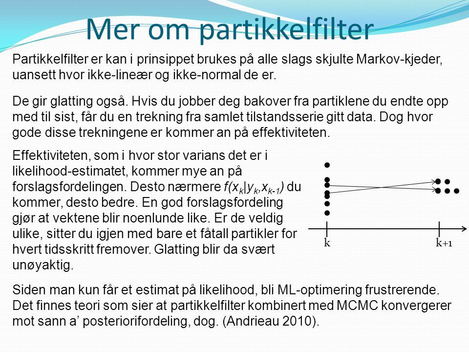 Mer om partikkelfilter Partikkelfilter er kan i prinsippet brukes på alle slags skjulte Markov-kjeder, uansett hvor ikke-lineær og ikke-normal de er.